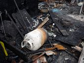 image of mayhem  - Remains of a house fire in Virginia Beach Virginia  - JPG