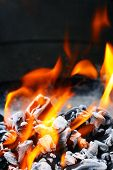 stock photo of bbq food  - Barbecue Grill flame fire charcoal BBQ - JPG