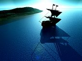 picture of pirate ship  - An image of a historical pirate ship sailing on the sea.  - JPG