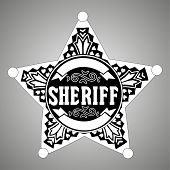 Black vector  Sheriff star on gray background
