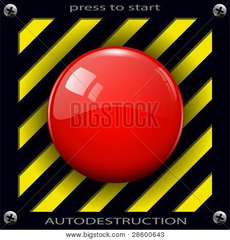 Red alarm shiny button background, vector.