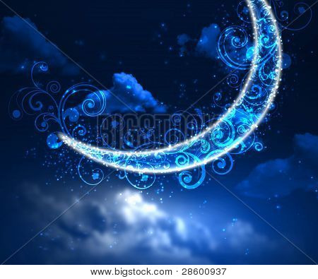 Night sky background with moon and stars