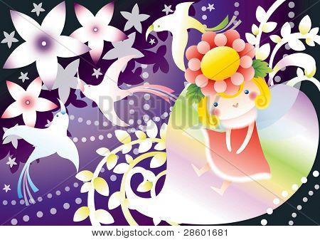 Lovely little Girl and Fantastic Fairytale World