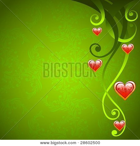 Valentine Day love background with floral decoration and red hearts