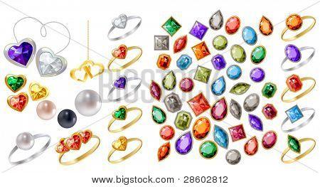 Gran colección de diversas joyas en blanco. Versión de la trama.