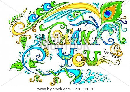 illustration of colorful doodle of thank you card