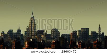 Dotted view on Manhattan from Brooklyn Bridge, Empire State Building, vector