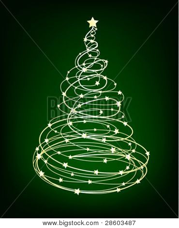 Glowing Vector Christmas tree