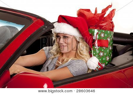 Woman Santa Hat Car Gift Drive