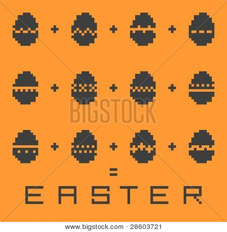 pixel Easter pattern, vector