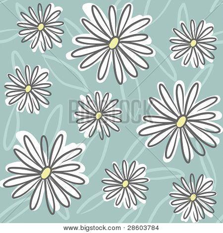 padrão sem emenda floral com daisy, desenho, ilustração vetorial