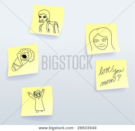 Sticky notes for Mothers Day from daughter, vector illustration