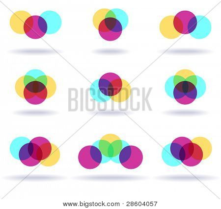 Set of nine colorful symbols, vector illustration