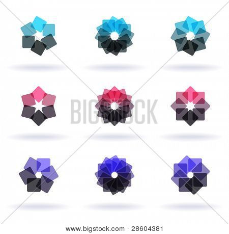 set of nine flower symbols, vector illustration