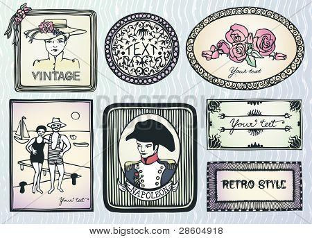 original vintage style doodle labels
