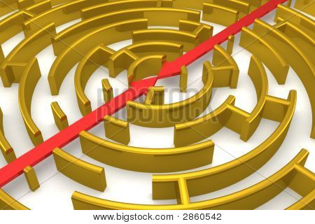 The Gold Labyrinth With Reflection. 3D Image.