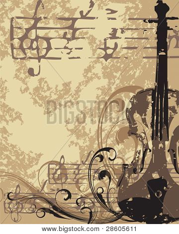Grunge vector musical background