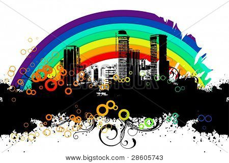 Urban banner with a rainbow
