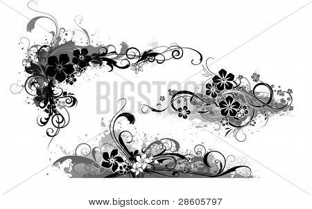 Three vector compositions with flowers
