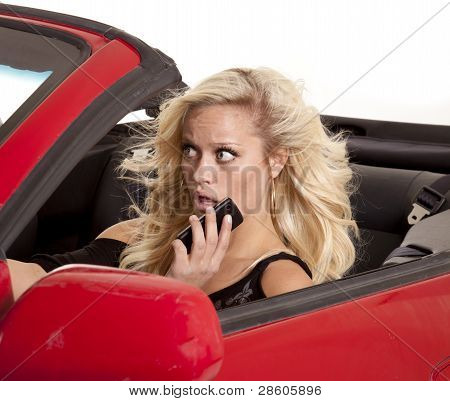 Blond Woman Phone Car Scared