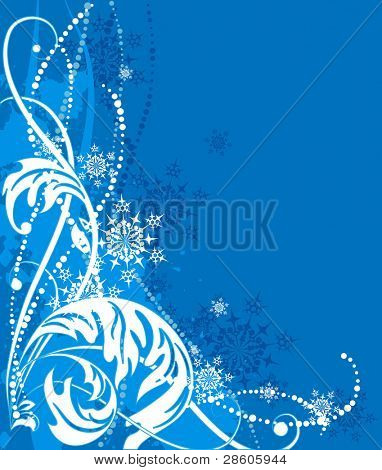 Blue vector christmas background with snowflakes