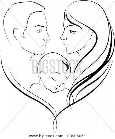 Vector illustration of happy young parents