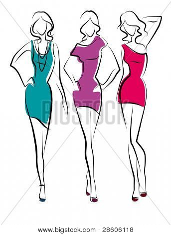 Three vector beauty girls