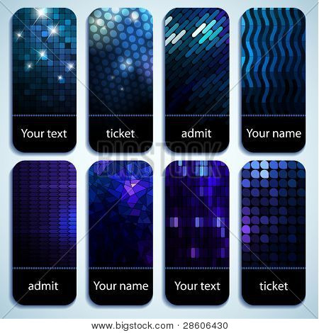 Set of shiny mosaic tickets with space for Your text