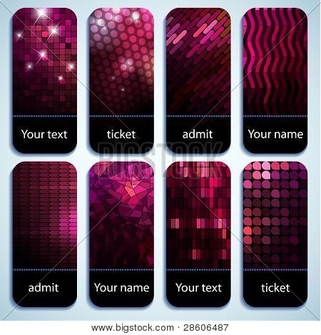 Set of red shiny tickets with space for Your text