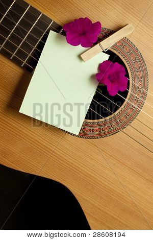 Acoustic guitar and flowers