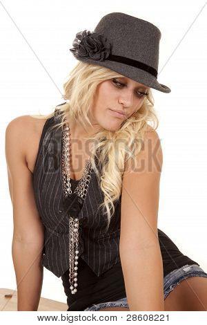 Woman In Black Sit Look Down