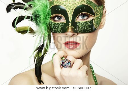 The Beautiful Young Woman In A Green Mysterious Venetian Mask