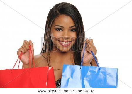 Young African American Woman holding shopping bags isolated on a white background