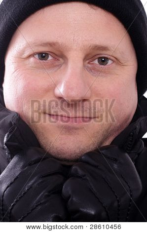 Man With Bobble Cap An Gloves