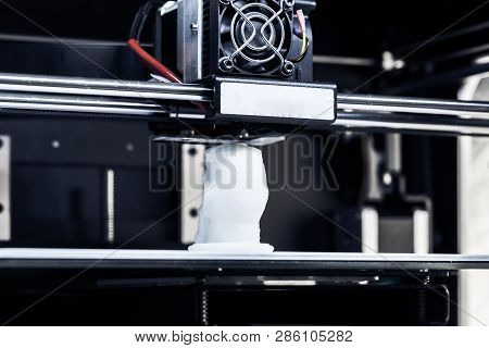 White 3d Printing Piece Object
