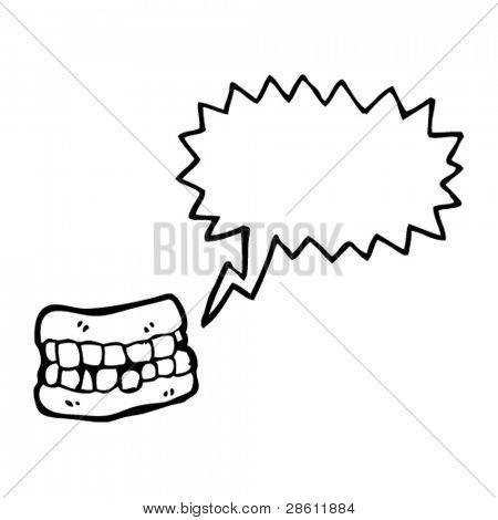 cartoon false teeth with speech bubble