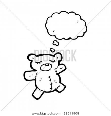 cute cartoon teddy bear with thought bubble