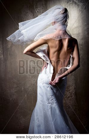 Lovely Sensual Bride Unzip Her Wedding Dress