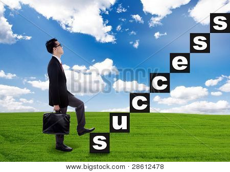 Businessman Climbing The Success Stairway