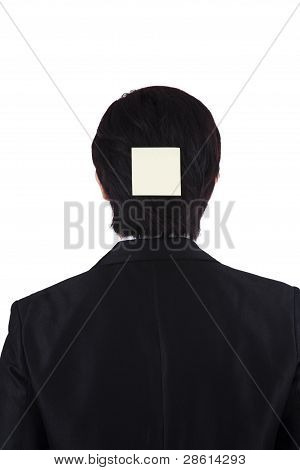 Businessman With sticky note On His Back Head