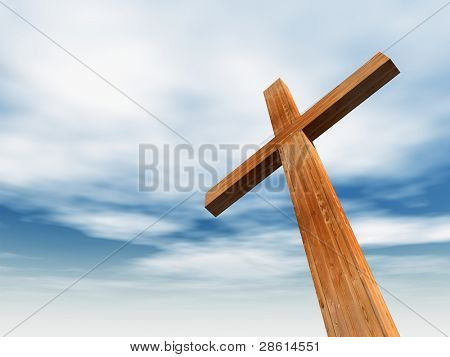hohe Auflösung christliches Kreuz gemacht aus Holz auf einem schönen Himmel Hintergrund, ideal für Urlaub, chr