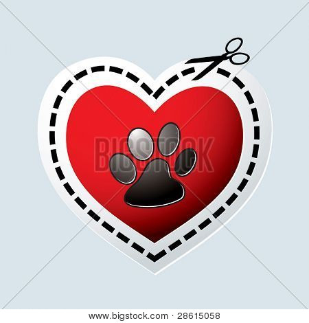 Red love heart with dogs paw print and dotted line