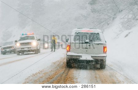 Mountain Road In Snow Storm