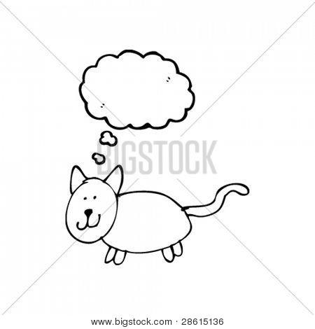 authentisch aussehendes Kinderzeichnung einer Katze mit dachte Blase