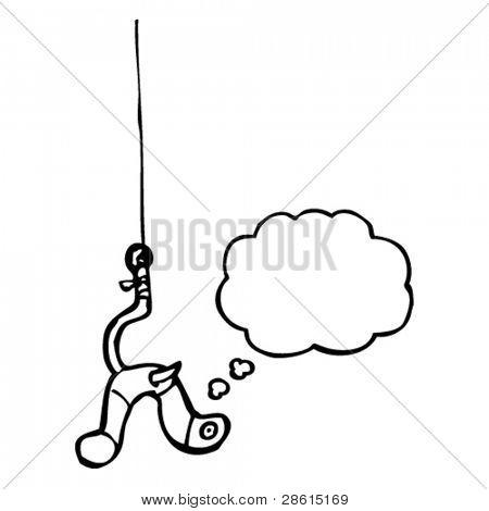 worm on fishing hook cartoon