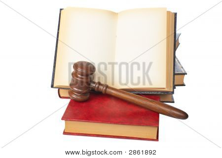 Wooden Gavel And Old Opened Law Book