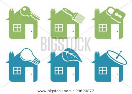 Six vector house icons.