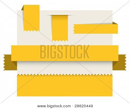 Yellow paper tags - Vector ribbons, stripes and bookmarks