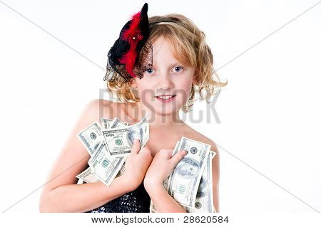 cheerful teen girl with dollar bills isolated on white background