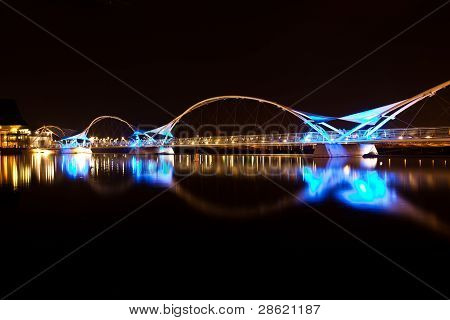 Black and Blue Bridge at Night